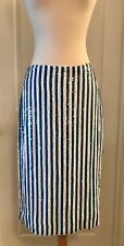 J.CREW COLLECTION STRIPED SEQUIN SKIRT SIZE 8 BLUE WHITE G3573