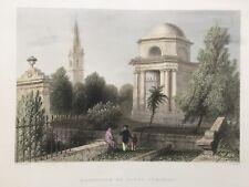 1837 Antique Print; Burns Mausoleum, Dumfries, Scotland after William Bartlett