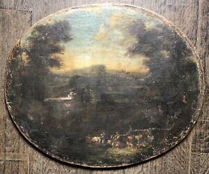 Tableau Ancien Paysage Vue d'Italie Peinture à Identifier XVIIème Classicisme
