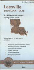 USGS Topographic Map LEESVILLE - Louisiana Texas - 1986 - 100K -