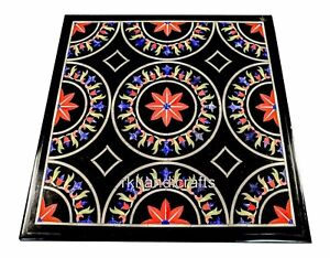 18 Inches Marble Corner Table Top Gemstones Inlay Work Coffee Table Floral Art