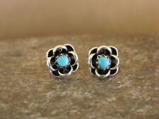 Zuni Indian Sterling Silver Turquoise Flower Post Earrings! Arlene Quam
