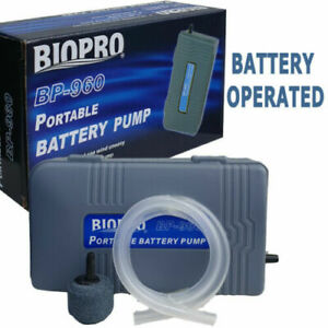 BIOPRO BP-960 AQUARIUM BATTERY OPERATED AIR PUMP PORTABLE AERATOR OXYGEN NANO SD