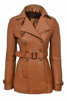TRENCH Ladies Tan Classic Mid-Length Designer Real Soft Leather Jacket Coat