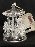 Vintage Plastic Clear Carousel Christmas Ornament
