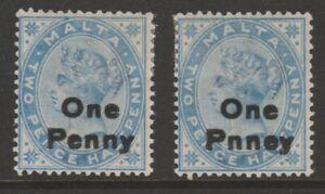 "Malta QV 1902 ERROR VARIETY 1d on 2½d dull blue ""PNNEY"" (R. 9/2) sg36b"