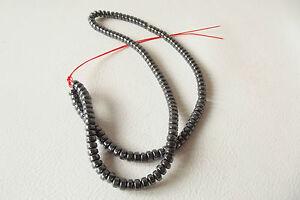 Temporary String of Hematite 4.5mm Drum Beads : HEM66 (approx. 145 beads)