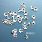 30 PC Solid Sterling Silver 6mm Flower Floral Bead Cap Spacer 33035