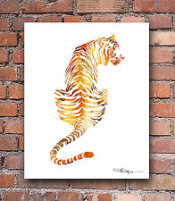 "Tiger Abstract Watercolor Painting 11"" x 14"" Art Print by Artist DJ Rogers"