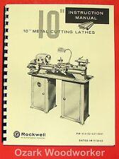 Rockwell 10 Cabinet Metal Lathe Older Operator Parts Manual 0589
