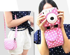For FUJIFILM Instax Mini8 Mini8s Pink Leather Polka Dot Camera Case Bag Sac
