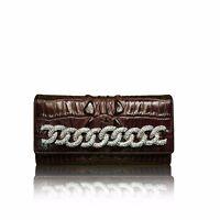 Raviani Croco Embossed Hornback Brown Tri-Fold Genuine Leather Wallet