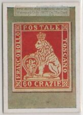 1930s Trade Ad Card - 1851 Italy Toscana, Tuscany 60Cr  Postage Stamp