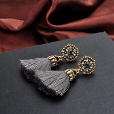 Vintage Style Rhinestones Crystal Tassel Dangle Stud Earrings Fashion Jewelry Gy