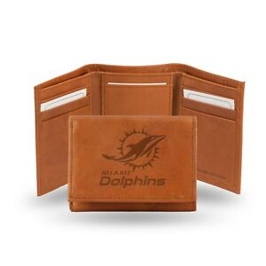Miami Dolphins NFL Embossed Leather Trifold Wallet ~ New