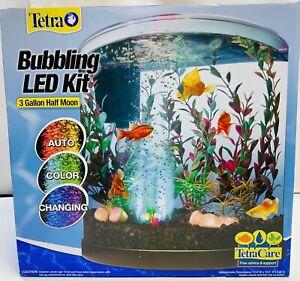 NEW Tetra Bubbling LED Starter aquarium Kit 3 Gallons Half-Moon Color Bubble