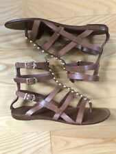 SARTORE Gladiator Brown Leather Sandals.Size 40,5 (US 10,5) SMALL SIZED