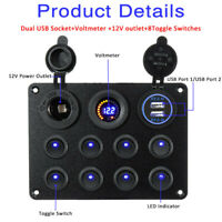 8 Gang ON-OFF Toggle Switch Panel 2 USB 12V Fit Car Boat Marine RV Truck  F K