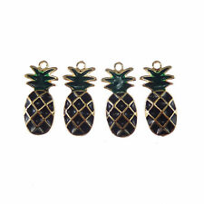 10pcs Gold Enamel Black Pineapple Shaped Alloy Pendants Charms Accessories 53344