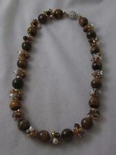 15MM TIGER'S EYE BEAD & SILVER FLOWER & FACETED CRYSTAL &  PEARL NECKLACE