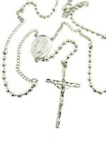 "22"" Silver Gild Petite Bead Our Lady Guadalupe Rosary Necklace Religious Jewelry"