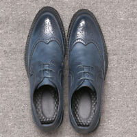 Men's Leather Shoes Dress Formal Lace up Brogue wing tip Wedding Suit