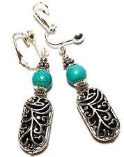 A Pair Long Tibetan Silver Style Earrings Clip-On Drop Dangle Clips Boho Hippy