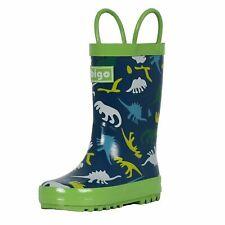 hibigo Children's Rubber Rain Boots with Handles Easy for Little Kids - DINOSAUR