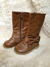 Baby Gap Girl Size 5 Brown Bow Riding Boots Toddler Carmell Carmel Color Tall