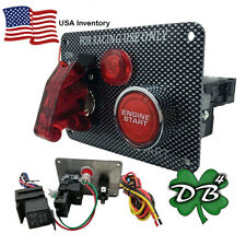 Universal Red LED Toggle Ignition Switch Carbon Fiber Style Panel Marine Auto