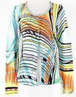 Alberto Makali Sz L Aqua Black Multi Rhinestone Rayon Spandex Knit Cardigan 150P