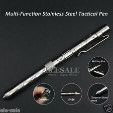 New Stainless Steel Tactical Pen With Knife Compass EDC Tool Ball Point Pen
