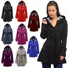 WOMENS LADIES CHECK HOODED DOUBLE BREASTED FLEECE JACKET WINTER PARKA COAT 8-20