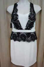 Betsy & Adam Dress Sz 12 White Black Lace Sheath Cocktail Evening Dress
