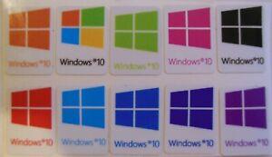 x10 pcs Windows 1 0  Sticker Badge Label Logo Decal Laptop HD Quality color mix