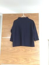 Jigsaw Jacquard Jumper, 100% Merino Wool, Blue And Black, Size M