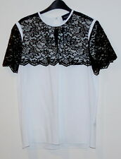 New Peter Som Womens Blouse Top Shirt size 10 ivory black lace $670
