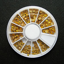 3 Sizes Flat Back Nail Art Rivet Studs Copper Glitter Color Wheel 4mm 3mm 2mm