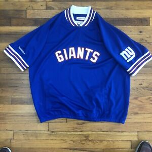 Retro Vintage Mitchell Ness New York Giants Mesh 1/4 Zip pull Over