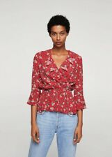 Mango Red Grey Pansy Floral Ruffle Wrap Top XS - B33