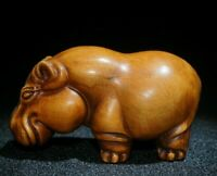 fengshui Noble old boxwood carve hippopotamus statue Japanese Netsuke home decor