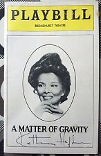 Katharine Hepburn Signed A Matter of Gravity Playbill JSA Authentication Letter