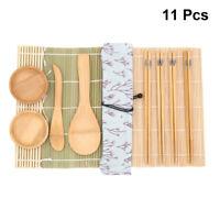 11pcs Bamboo Sushi Making Kit DIY Tools Include Sushi Rolling Mats Dishes Paddle