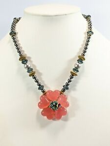 """Artisan Gold Tone Gray Glass Faux Pearl Pink Acrylic Heart Flower Necklace 18"""""""