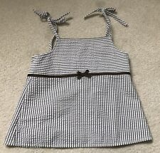 Kelly's Kids Girls Size Sz L 10 12 Pinstriped Seersucker Brown White