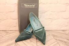 Tamaris Petrol Suede Leather Mid High Heel Court Pumps Shoes RRP £89 EU 38 UK 5