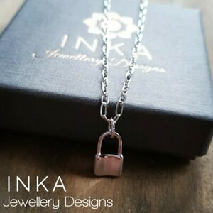 "Inka 925 Sterling silver 16"" oval chain Necklace with Lock Pendant"