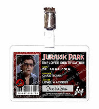Jurassic Park ID Badge Ingen Dr. Ian Malcolm Dinosaur Cosplay Costume Comic Con