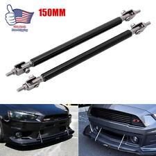 2X Black Adjustable Front Bumper Lip Splitter Spoiler Strut Rod Tie Support Bar
