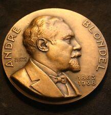 ANDRE BLONDEL Bronze Medal 1938 Paris Mint